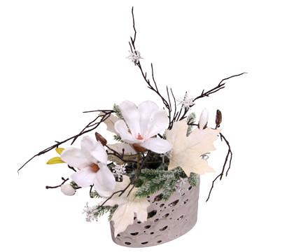 Seidenblumen-Arrangement Magnolie in Schale