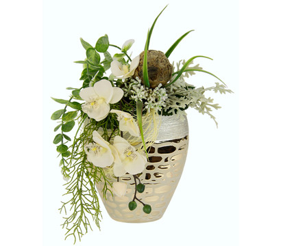 Seidenblumen-Arrangement Orchidee in einer Vase