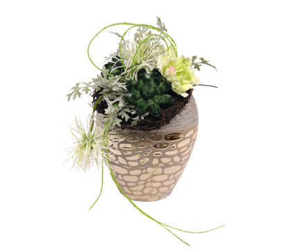 Seidenblumen-Arrangement Protea und Nelke