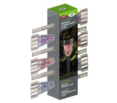 Solar-Pfahlleuchte Mosaik, 6 Stück
