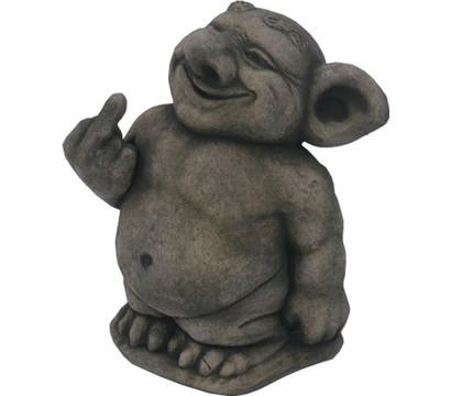 Stein troll zeigt stinkefinger antik grau 14 x 19 x 25 for Gartenfiguren stein
