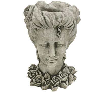Stein-Pflanztopf Kopf mit Rosen, 26 x 26 x 34 cm