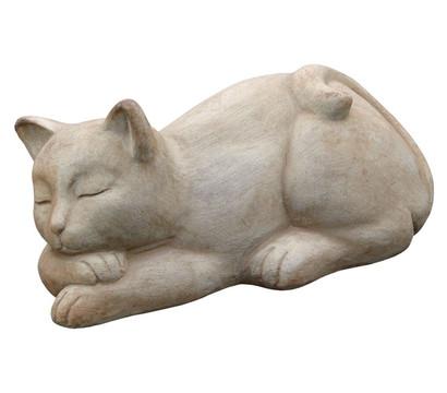 Terrakotta-Katze schlafend, 14 x 17 x 32 cm