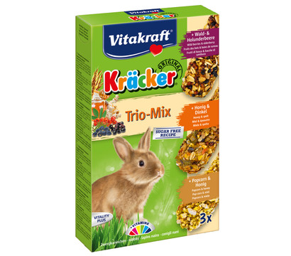 Vitakraft® Nagersnack Kräcker® Trio Mix, Waldbeere, Honig & Popcorn