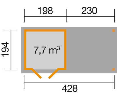 weka gartenhaus 321 230 cm anbau dehner garten center. Black Bedroom Furniture Sets. Home Design Ideas