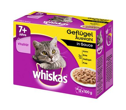 Whiskas® 7+ Geflügelauswahl in Sauce, Nassfutter, 12 x 100g