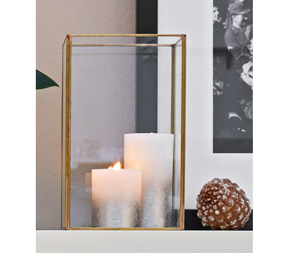 Windlicht Metall & Glas, Gold