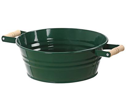 Zink-Schale mit Holzgriffen, grün