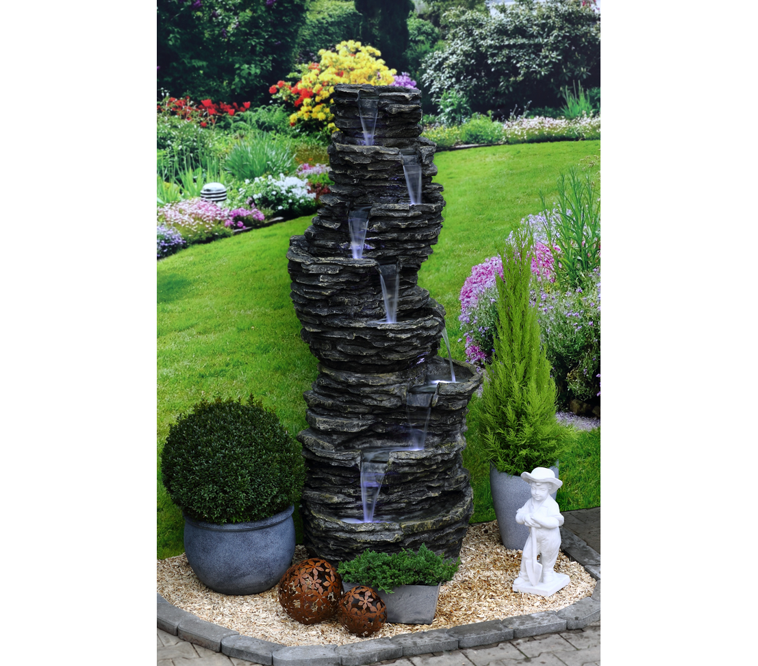 dehner garten brunnen gartenbrunnen steinoptik mit led beleuchtung ca ebay. Black Bedroom Furniture Sets. Home Design Ideas