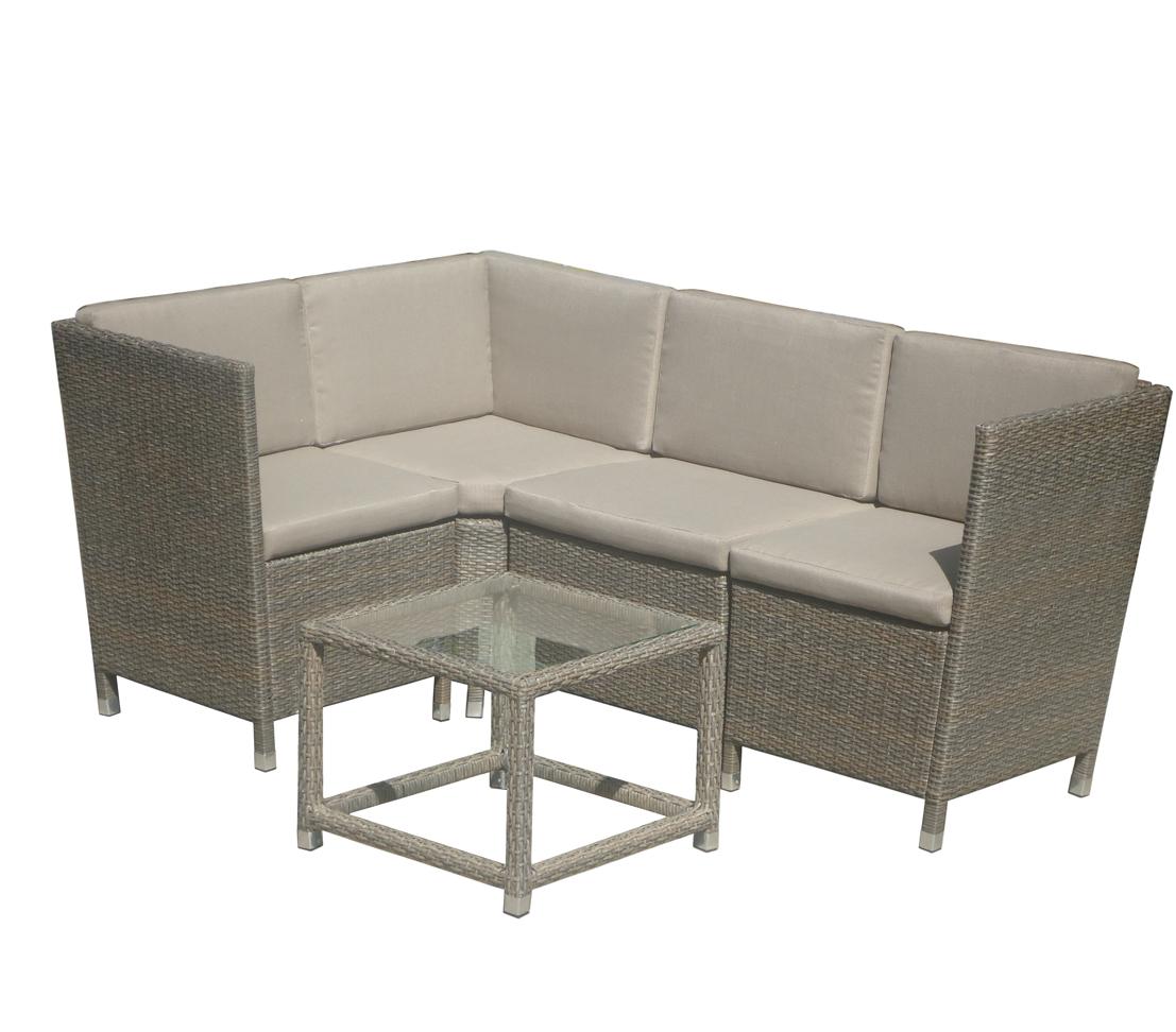 Balkonmöbel Lounge Mit Tisch Polyrattanoptik Grau Ca 171 X 116 X 77