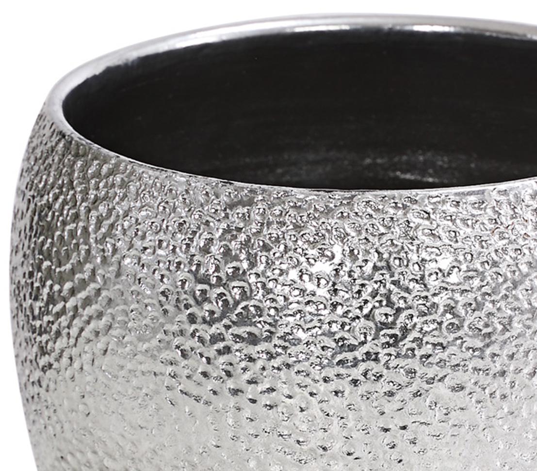 Dehner Blumentopf Übertopf Rosella Keramik verschiedene Größen//Formen silber