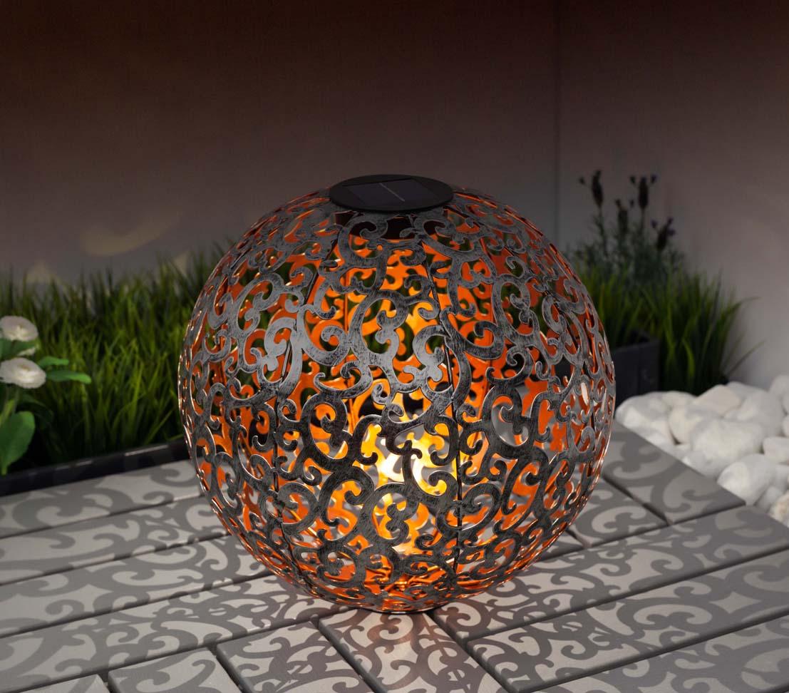 dehner solarkugel luanda 30cm metall kunststoff silber. Black Bedroom Furniture Sets. Home Design Ideas