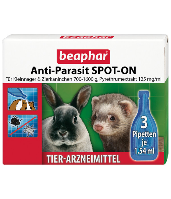 beaphar Anti-Parasit SPOT-ON für Kleinnager & Zierkaninchen, 3 x 1,54 ml