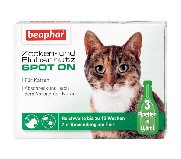 beaphar Zecken- & Flohschutz SPOT-ON für Katzen, 3x0,8ml