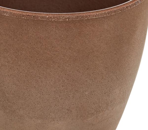 Übertopf aus Keramik, rund, braun/grau