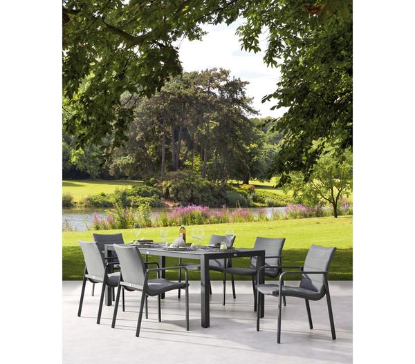 Best Gartenmöbel-Set Milos/Livorno, 7-teilig, Aluminium, anthrazit