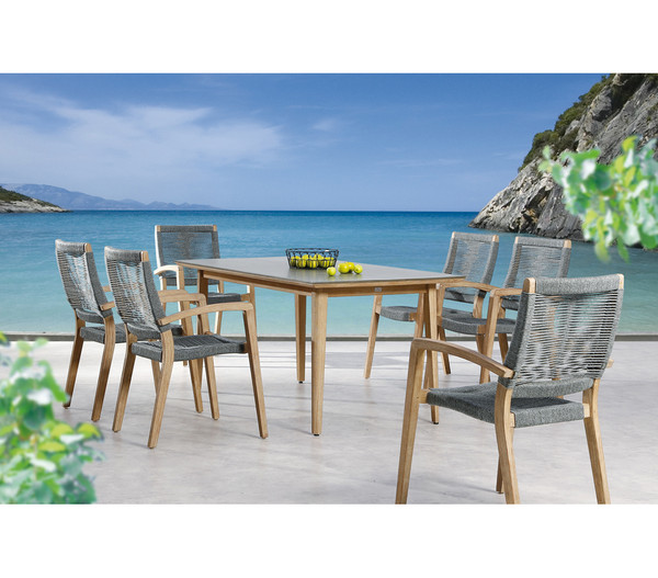 Best Tisch Lagos, 170x90x77 cm, Grandis-Hartholz, betongrau