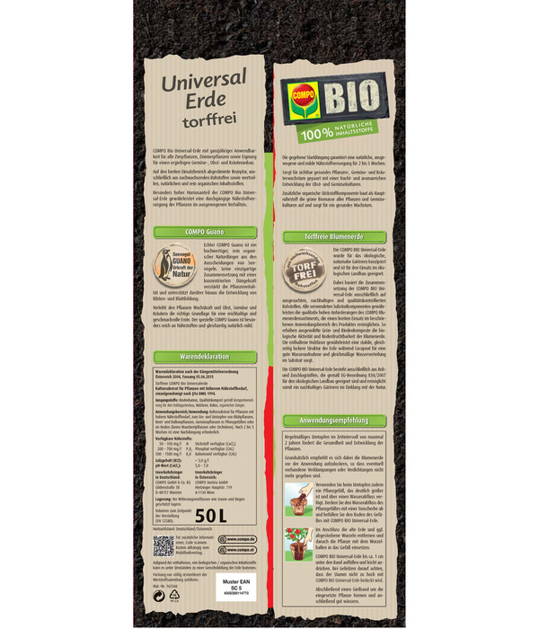 COMPO Bio Universal-Erde torffrei, 50 l