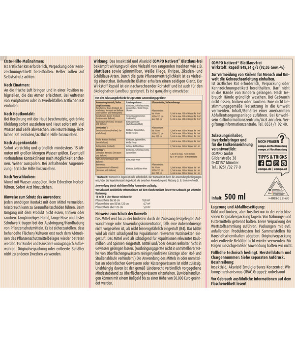 COMPO® Nativert® Blattlaus-frei, 500 ml