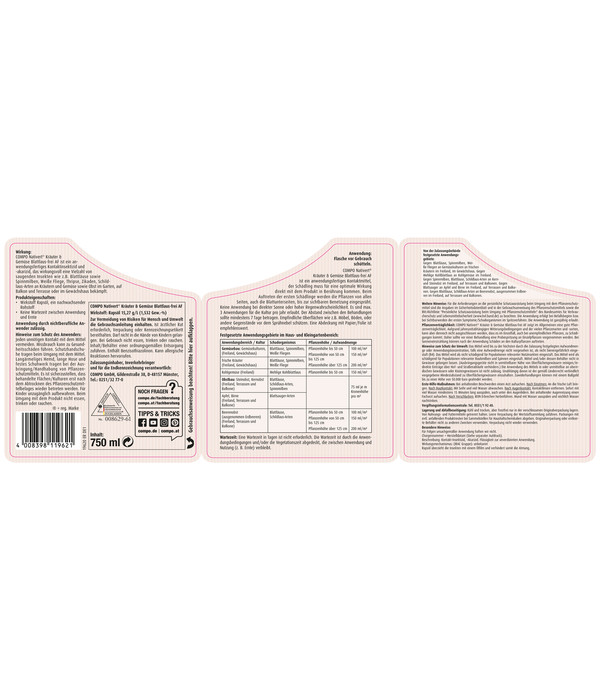 COMPO® Nativert® Kräuter & Gemüse Blattlaus-frei AF, 750 ml