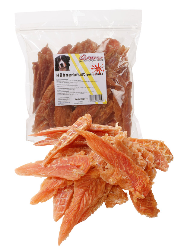 Corwex Hundesnack Hühnerbrust in Filetform, 1kg
