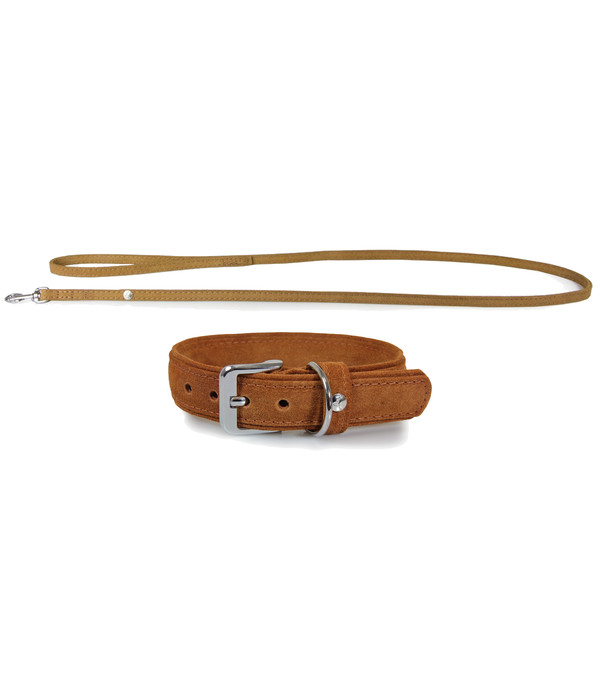 Das Lederband Halsband/Leinen-Set Style Toronto Cognac