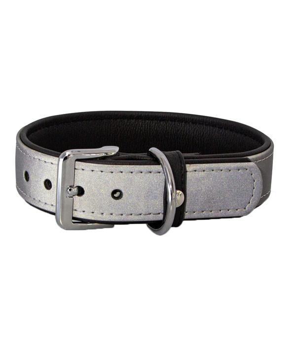 Das Lederband Hundehalsband Style Oslo Silber reflektierend/Schwarz