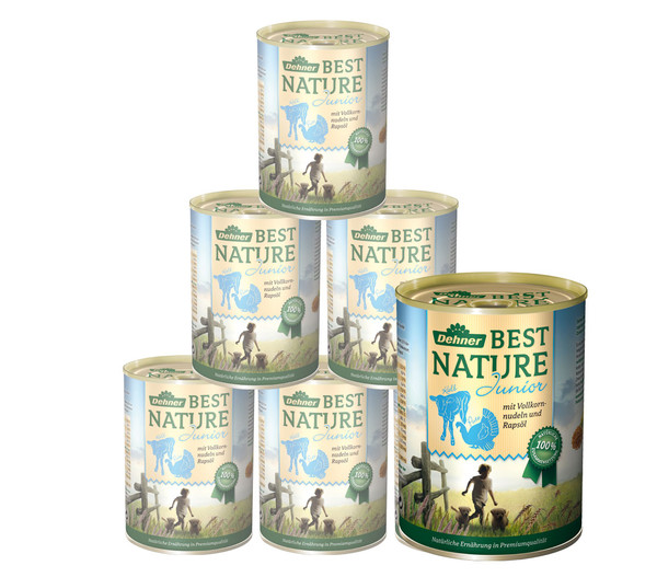 Dehner Best Nature für Hunde, Junior, Nassfutter, 6 x 400g/800g