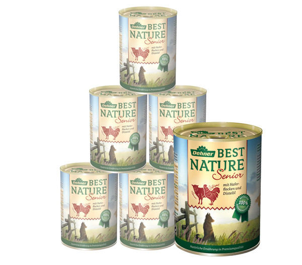 Dehner Best Nature Hunde Nassfutter Senior, 6x400 g/800 g