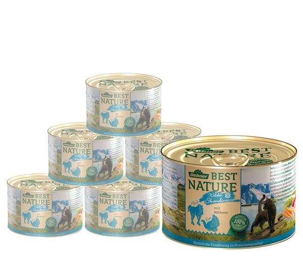 Dehner Best Nature Nassfutter Skandinavien, Pute & Pferd, 6x200 g/400 g