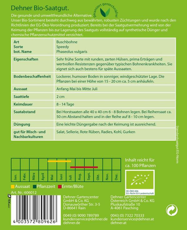 Dehner Bio Samen Buschbohnen 'Speedy'