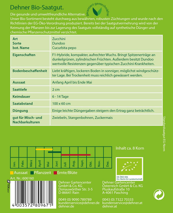 Dehner Bio-Samen Zucchini 'Dundoo'