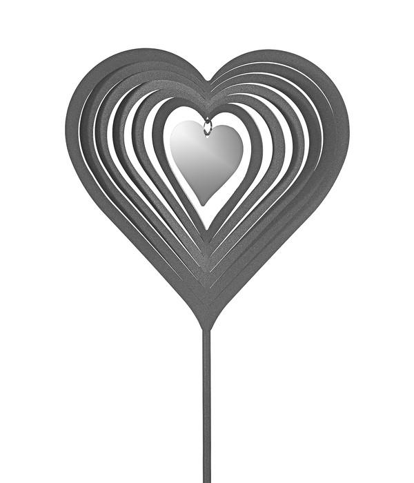 Dehner Edelstahl-Dekostab Herz, silber