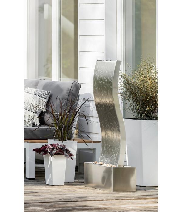 Dehner Edelstahl-Gartenbrunnen Curve, 44,5 x 23,5 x 108 cm