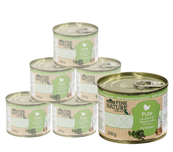Dehner Fine Nature Nassfutter Adult, Pute, 6x200 g/400 g