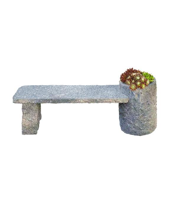 Dehner Granit-Gartenbank Flora, ca. B130/H45/T30 cm, grau