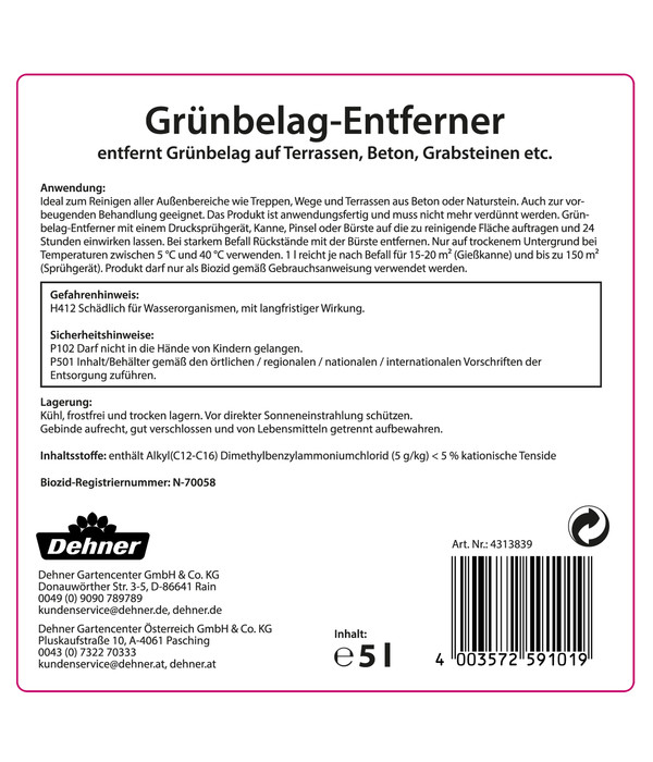 Dehner Grünbelag-Entferner, flüssig, 5 l