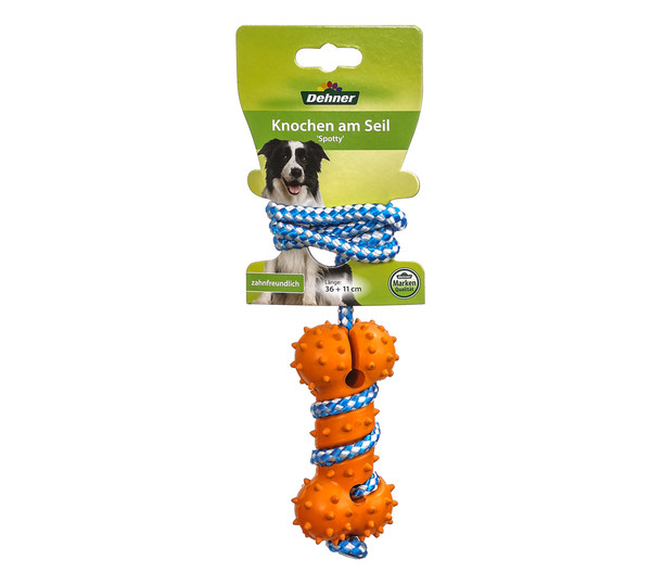 Dehner Hundespielzeug Knochen am Seil 'Spotty'