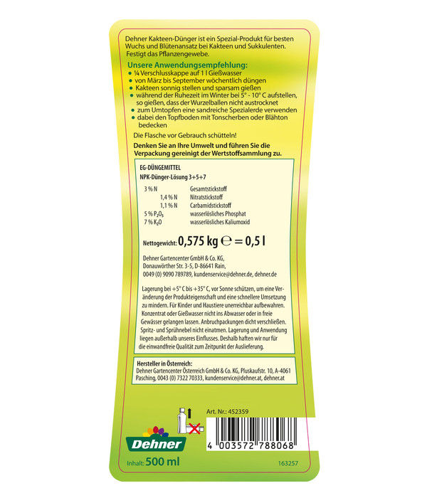 Dehner Kakteen-Dünger, flüssig, 500 ml