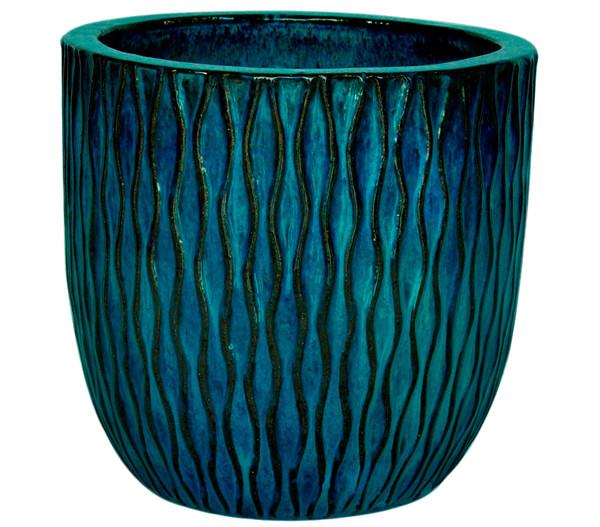 Dehner Keramik-Topf, rund, blau