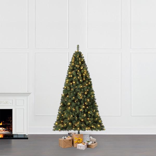 Dehner Künstlicher Weihnachtsbaum Tanne 'Aron' mit LED-Beleuchtung, 210 cm