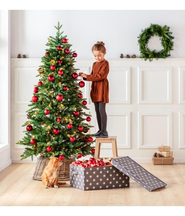Dehner künstlicher Weihnachtsbaum Tanne 'Stellan' mit LED-Beleuchtung, 180 cm