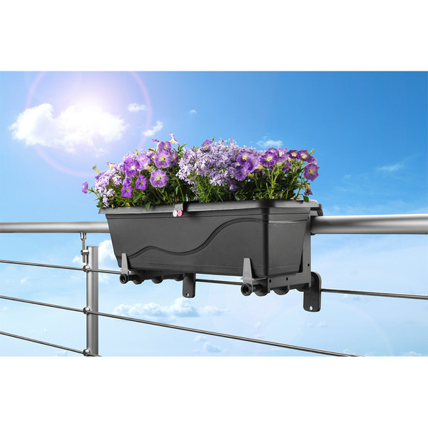 Dehner Kunststoff-Blumenkastenhalter, anthrazit