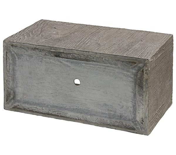 Dehner Leichtbeton-Kasten in Holzoptik, rechteckig, grau