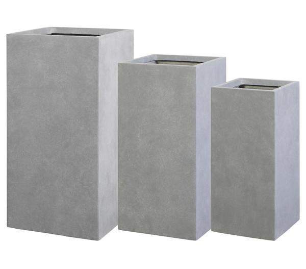 Dehner Leichtbeton-Pflanzvase, quadratisch, grau