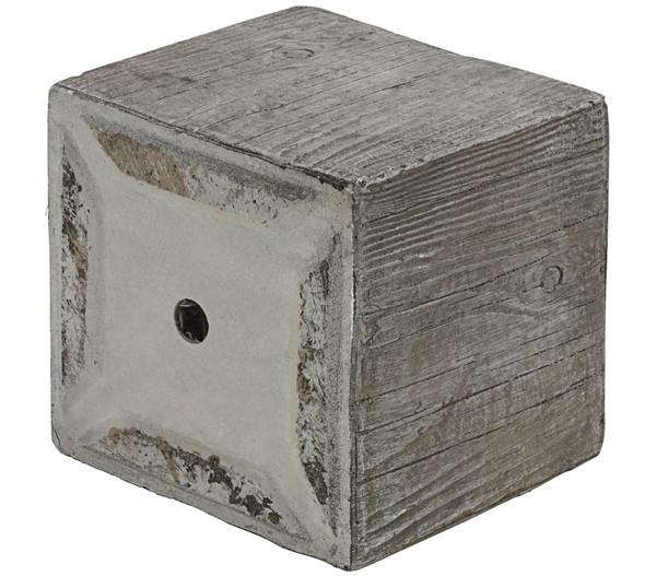 Dehner Leichtbeton-Topf in Holzoptik, eckig, grau