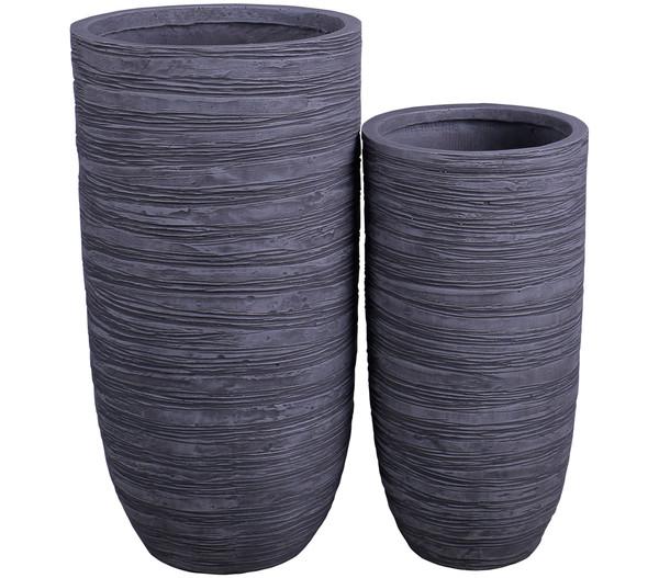 Dehner Leichtbeton-Vase, rund, anthrazit