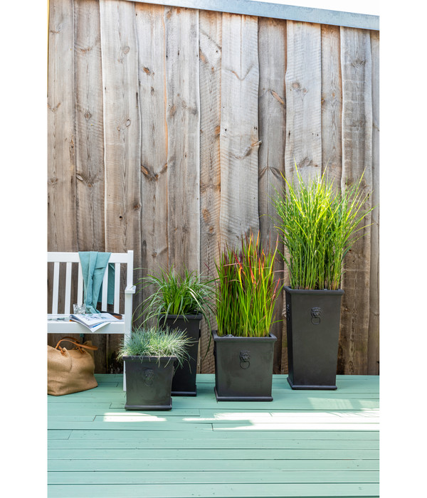 Dehner Leichtbeton-Vase Windsor, eckig, schwarz