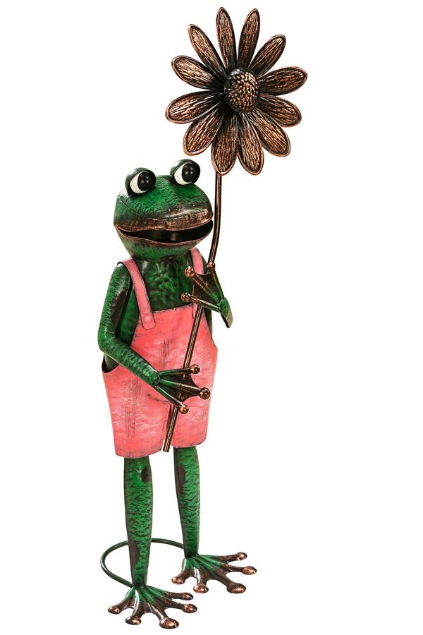 Dehner Metall-Deko Frosch mit Blume, ca. B31/H75/T23 cm