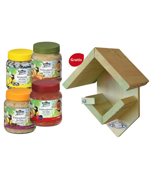 Dehner Natura Fett-/Erdnussbuttergläser + GRATIS Erdnussbutterhaus